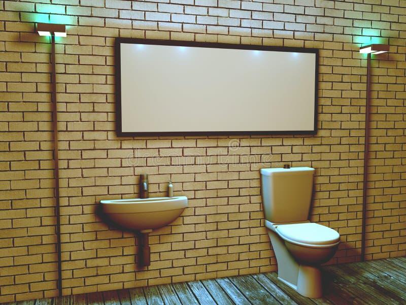 3d洗手间的内部在顶楼样式的 皇族释放例证