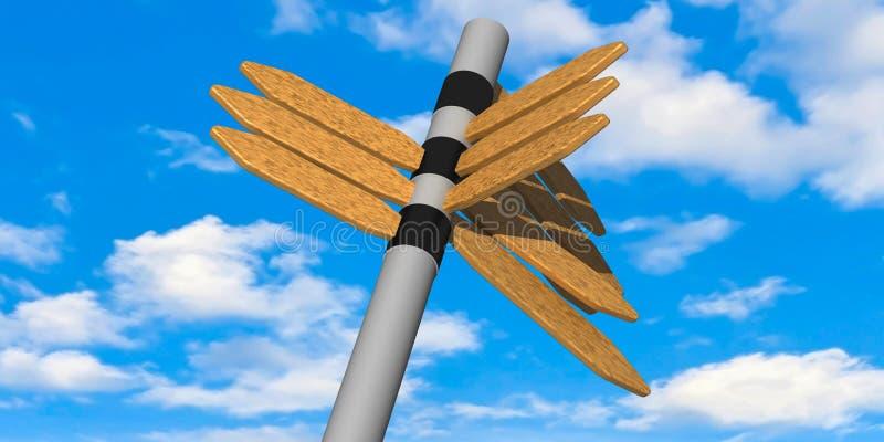 3d - 方向标和多云天空蔚蓝 免版税库存图片