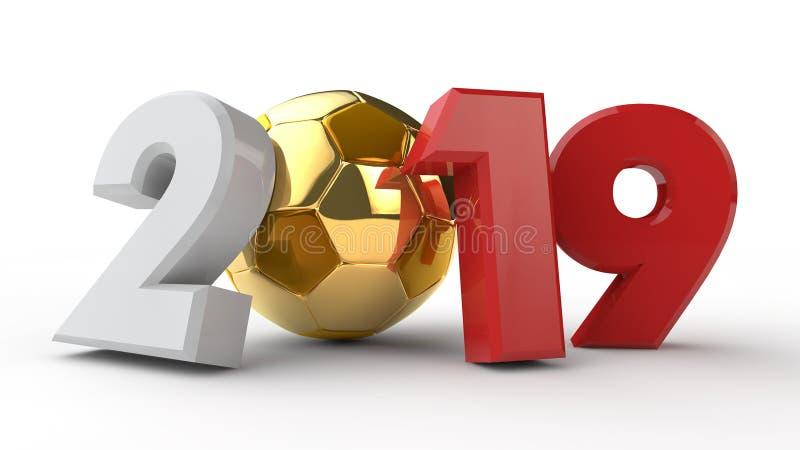 3D 2019日期的例证,与足球 日历的想法,世界杯,胜利日期的3D翻译 的treadled 皇族释放例证