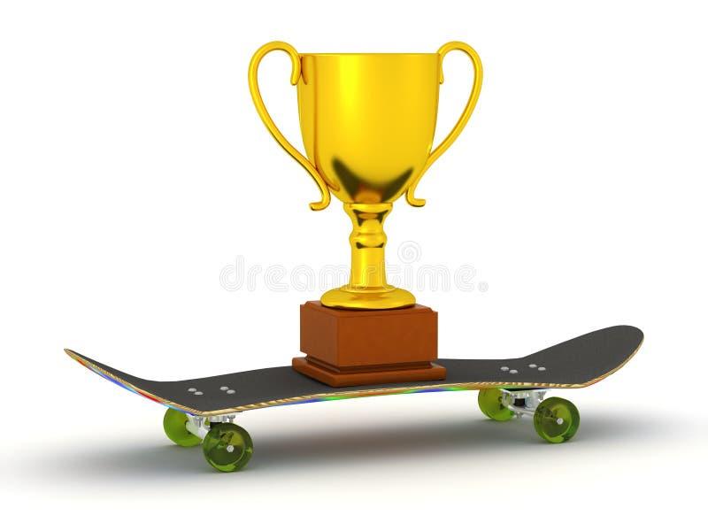 3D滑板和金黄战利品 向量例证