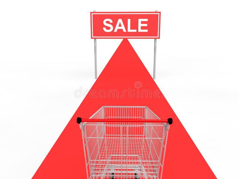 3d购物卡片和隆重的销售横幅 向量例证