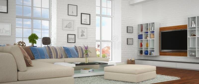 3d - 现代客厅 向量例证