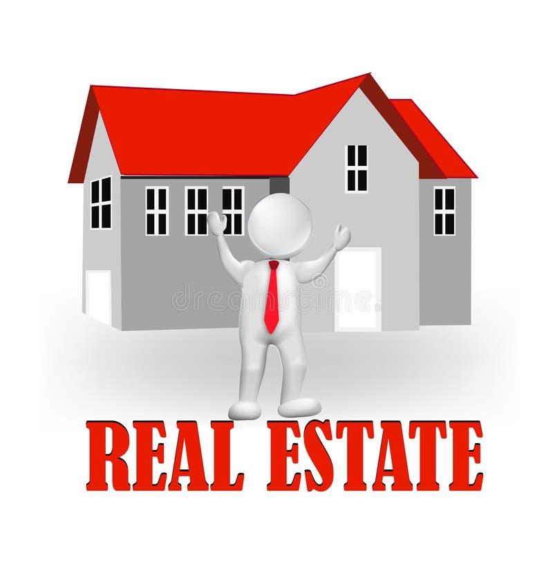 3D代理房地产商标 库存例证