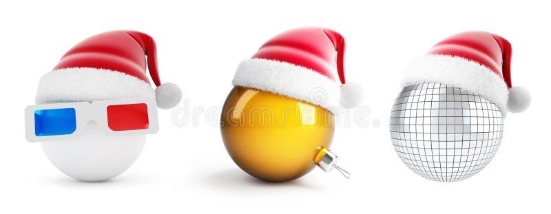 3d玻璃球圣诞老人帽子,在一个白色背景3D例证的迪斯科球 库存例证