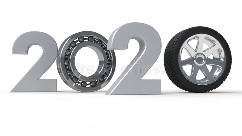 3D 2019的例证年,新年的日期与滚动的轴承的 时间机器的机制的想法, 向量例证