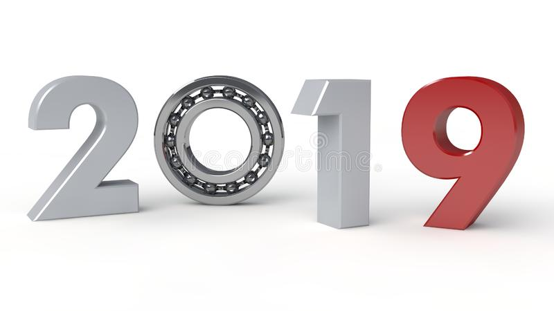 3D 2019的例证年,新年的日期与滚动的轴承的 时间机器的机制的想法, 皇族释放例证