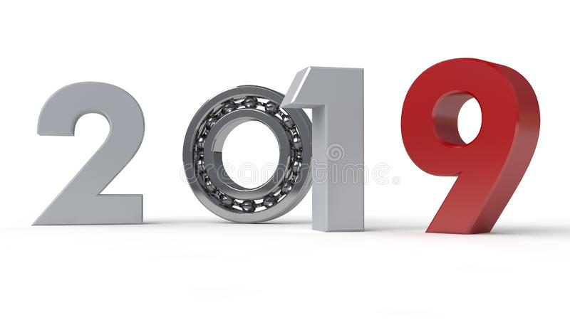 3D 2019的例证年,新年的日期与滚动的轴承的 时间机器的机制的想法, 库存例证