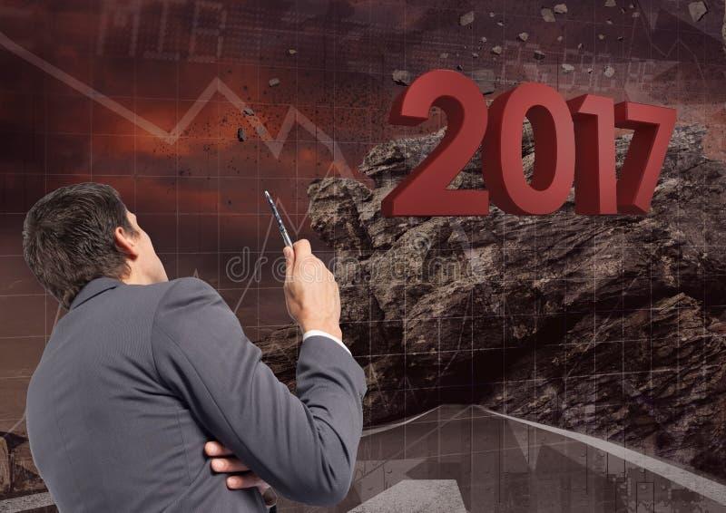3D 2017年的综合图象与计划关于成长的商人 向量例证