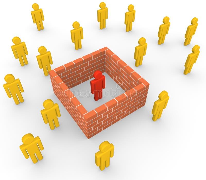 3d从社会的人由砖墙 向量例证
