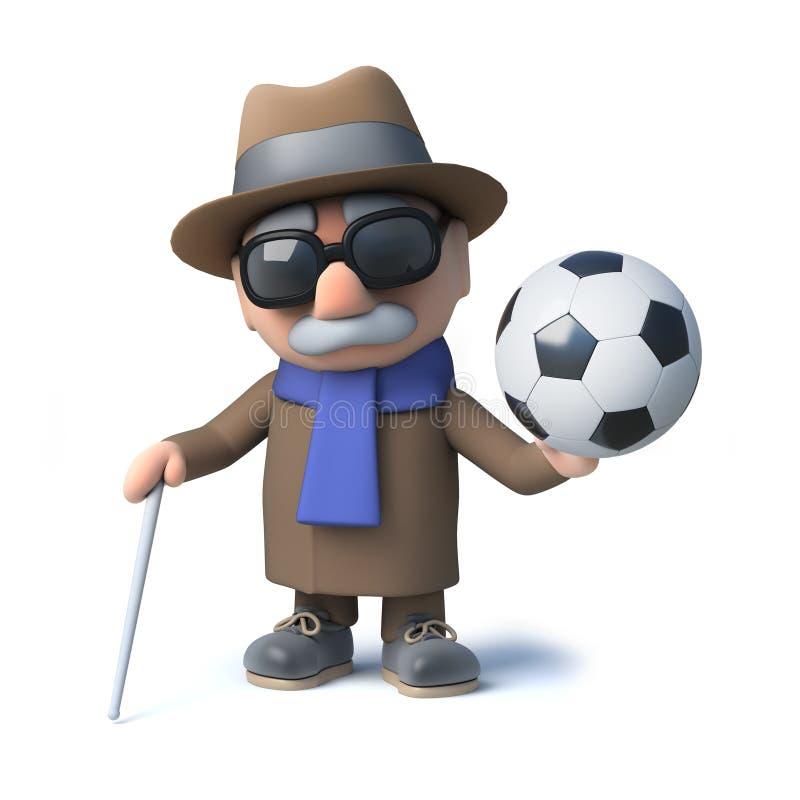 3d滑稽的举行橄榄球的动画片老盲人字符 库存例证