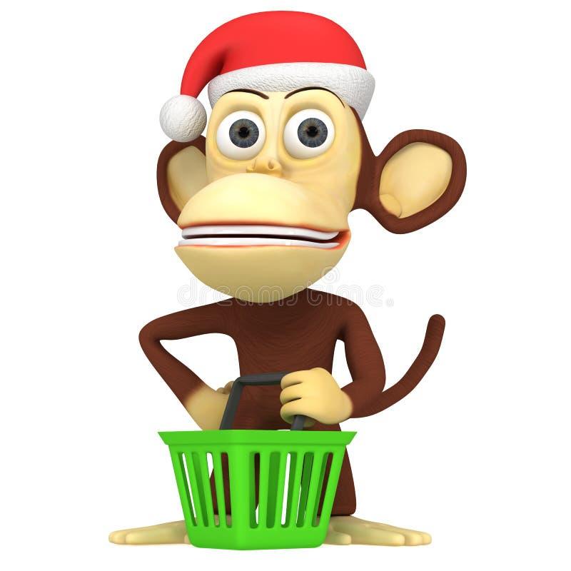 3d滑稽的猴子圣诞老人 皇族释放例证