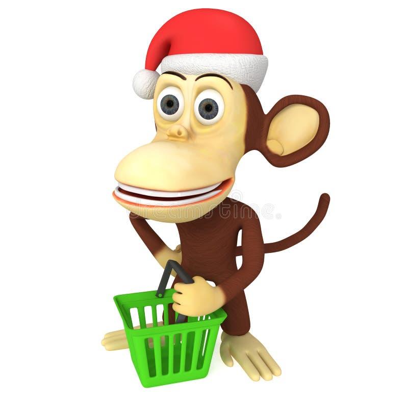 3d滑稽的猴子圣诞老人 库存例证