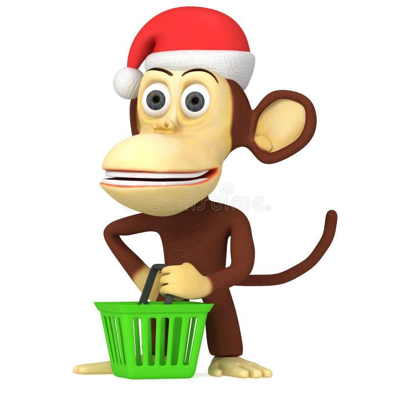 3d滑稽的猴子圣诞老人 向量例证