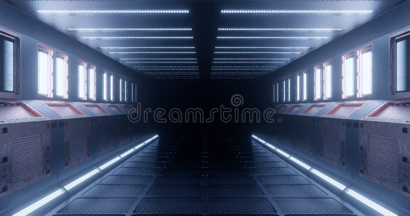 3d?? 空间站的意想不到的走廊或太空船的未来派内部在浅兰的霓虹照明设备的 库存例证