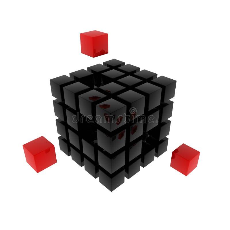 3d黑立方体难题 库存例证