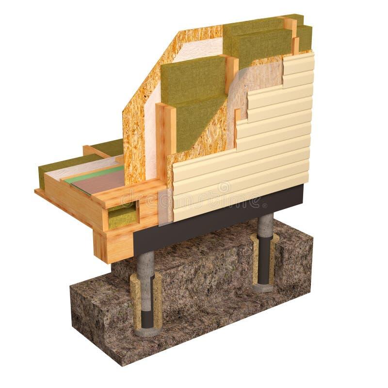 3d绝缘材料和楼房建筑木屋的概念性图象 向量例证