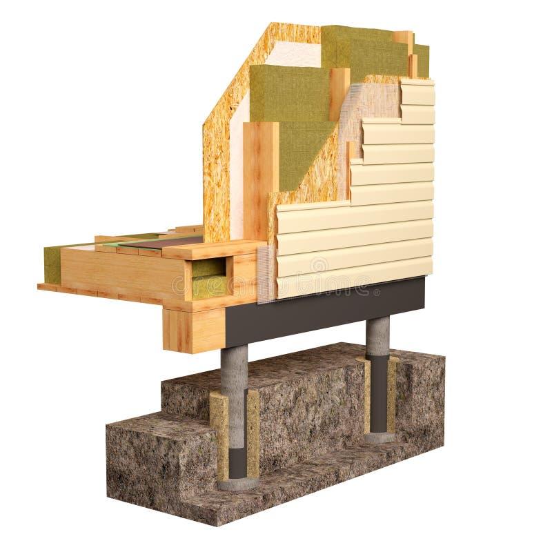 3d绝缘材料和楼房建筑木屋的概念性图象 皇族释放例证