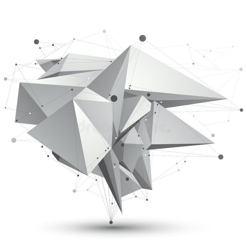 3D滤网现代时髦的抽象对象, origami小平面结构 向量例证