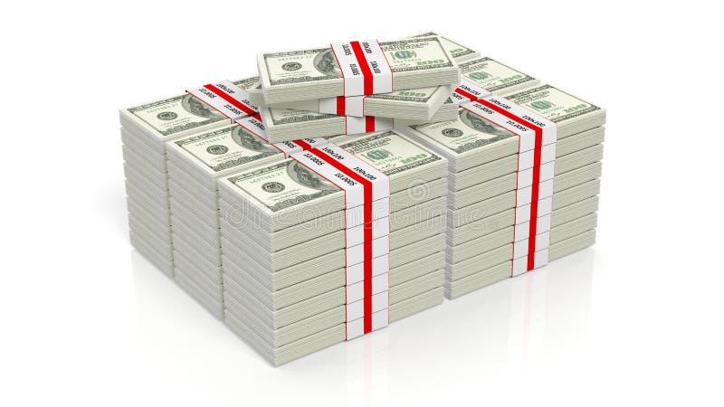 3D 100美元翻译钞票包堆 向量例证