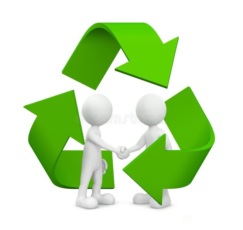 3D绿色企业协议与回收标志 皇族释放例证