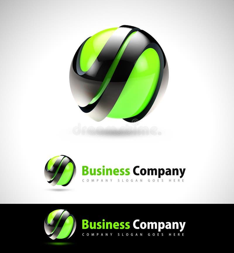 3D绿色企业商标 皇族释放例证