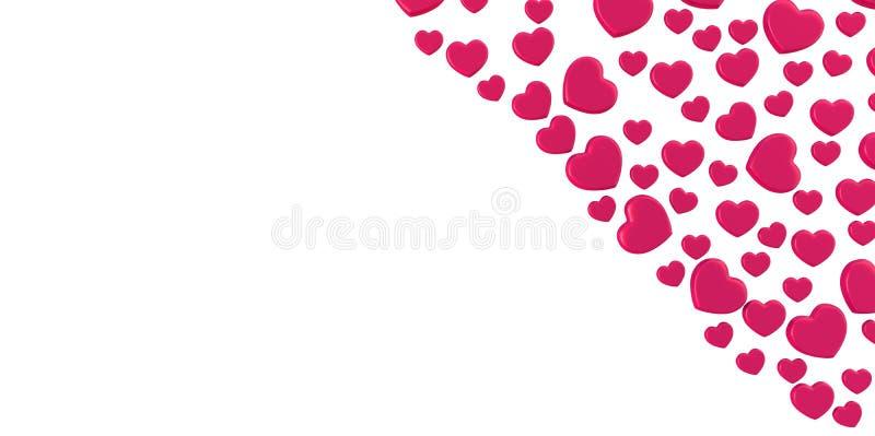 3D紫色桃红色心脏塑造在白色背景的形式在角落 向量例证