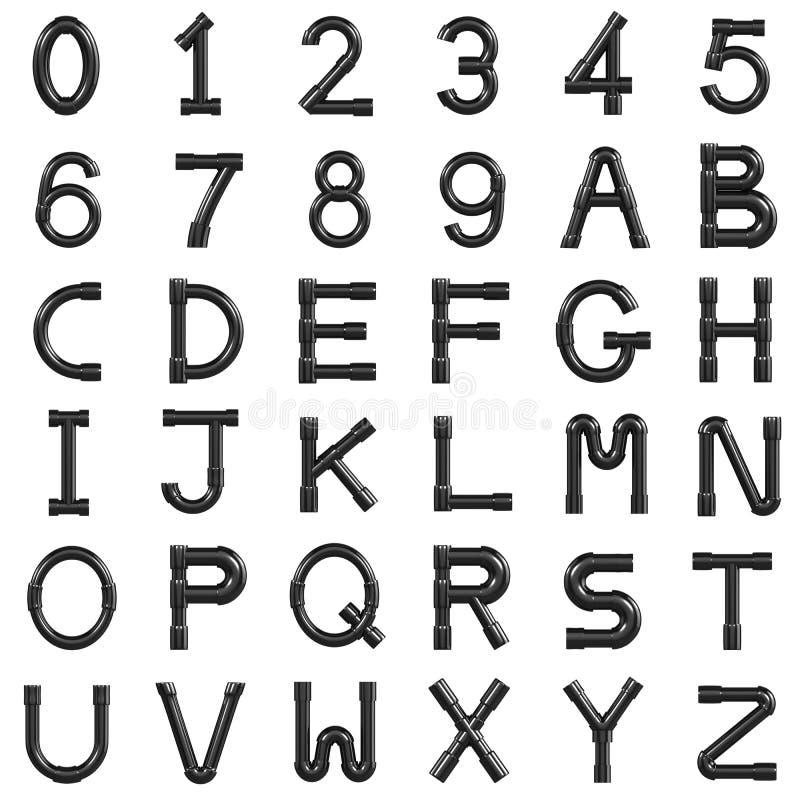 3d黑色管子字体 库存例证