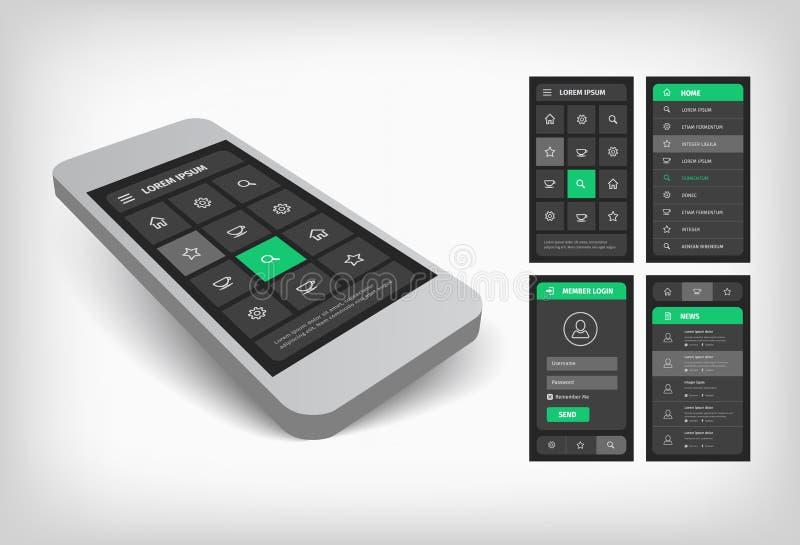 3d绿色ui设计的形象化 向量例证