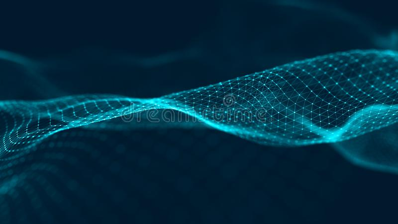 微粒波浪  与动态波浪的未来派蓝色小点背景 r 3d?? 免版税库存图片