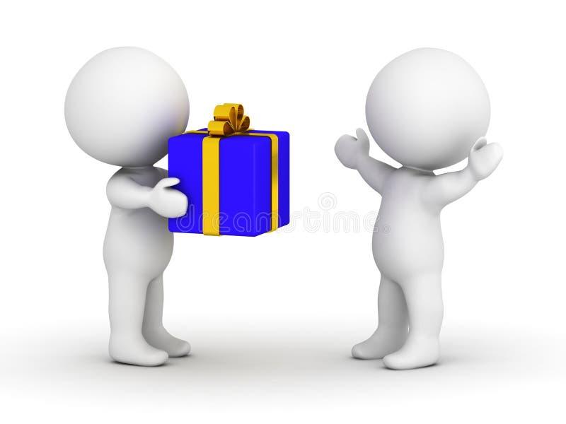 3D给被包裹的礼物的人 向量例证