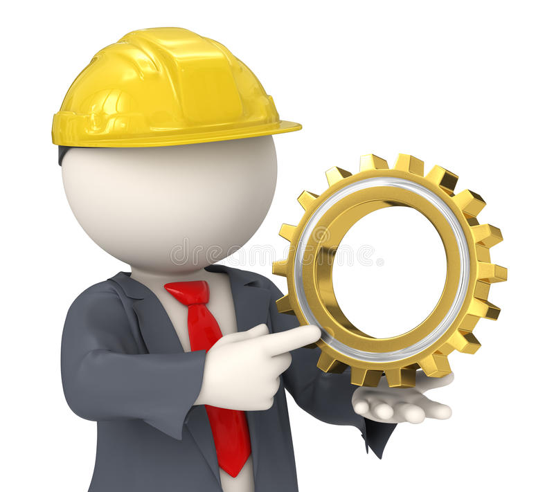 3d建设者拿着齿轮的商人 免版税库存照片