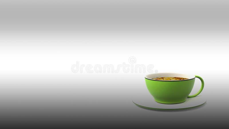 3d翻译咖啡和杯子有好的颜色的 皇族释放例证