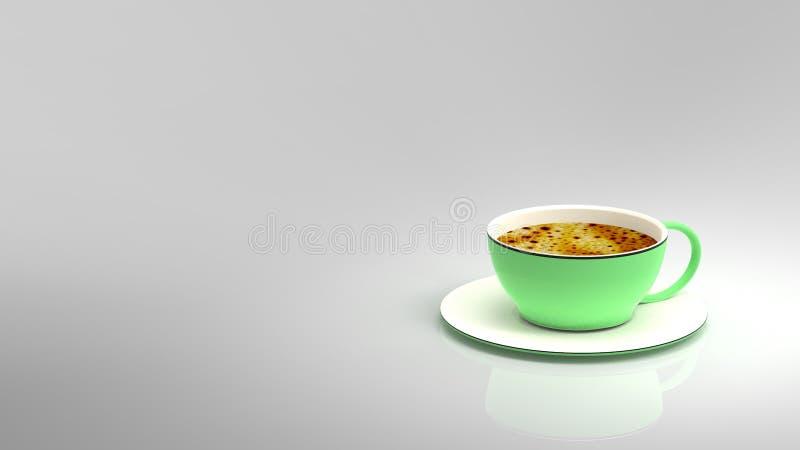 3d翻译咖啡和杯子有好的颜色的 向量例证