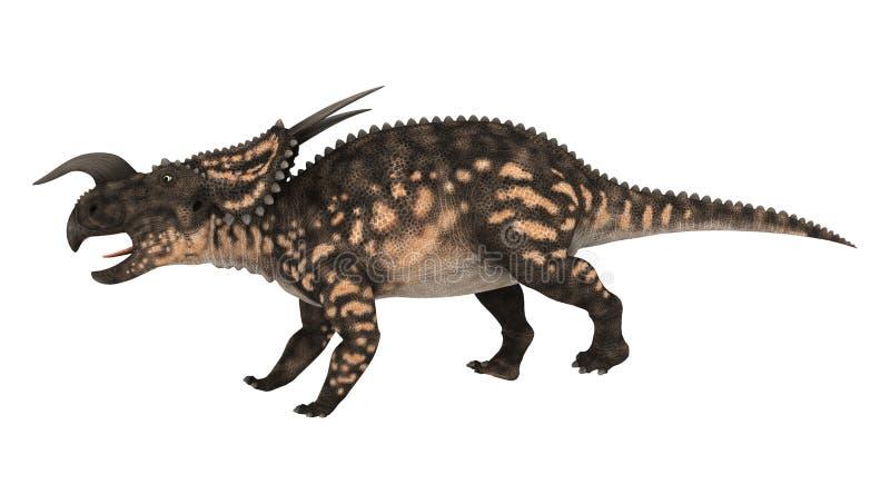 3D翻译在白色的恐龙野牛龙 向量例证