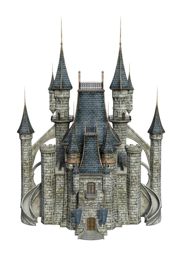 3D翻译在白色的幻想城堡 向量例证