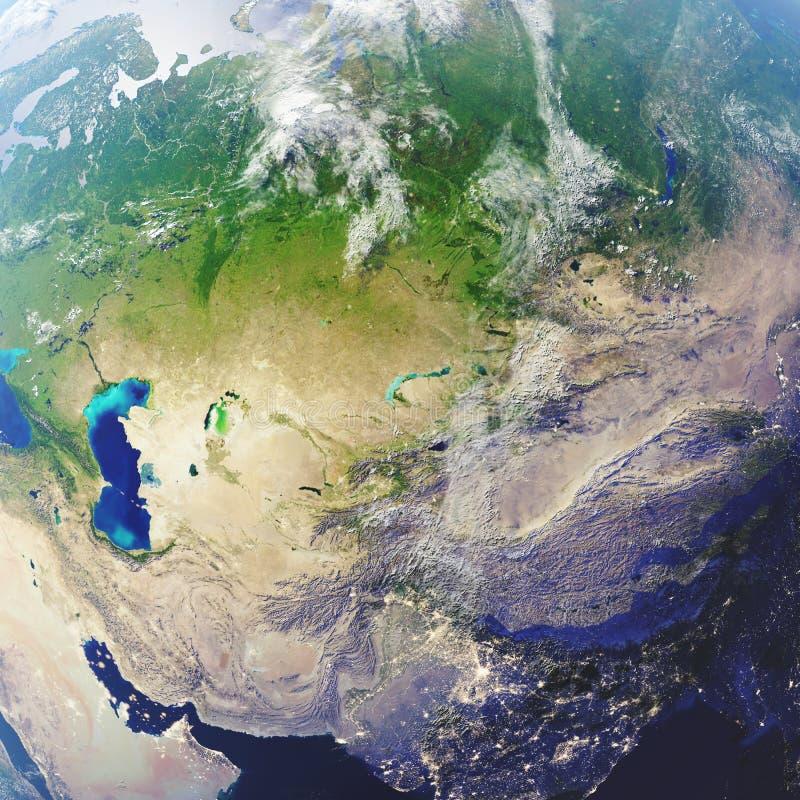 3D翻译地球特写镜头视图,顶视图 在空间附近 从空间的行星地球 用装备的这个图象的元素  库存例证