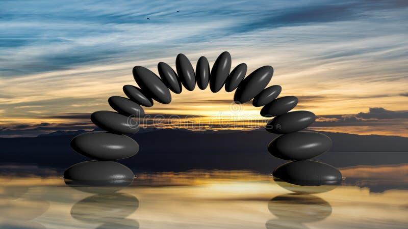 3D翻译平衡在水中向形成曲拱扔石头与日落天空 向量例证