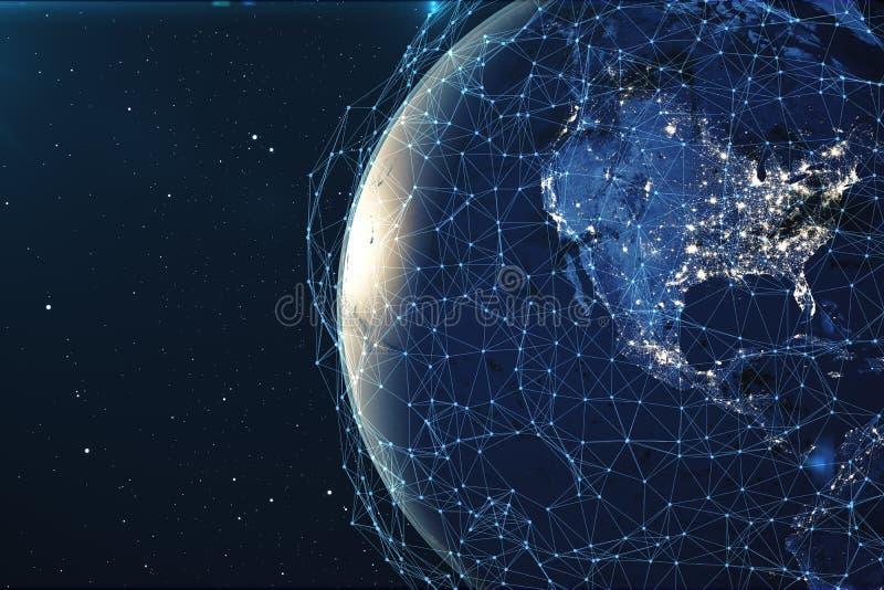 3D翻译网络和数据交换在空间的行星地球 在地球地球附近的连接线 全球 库存例证