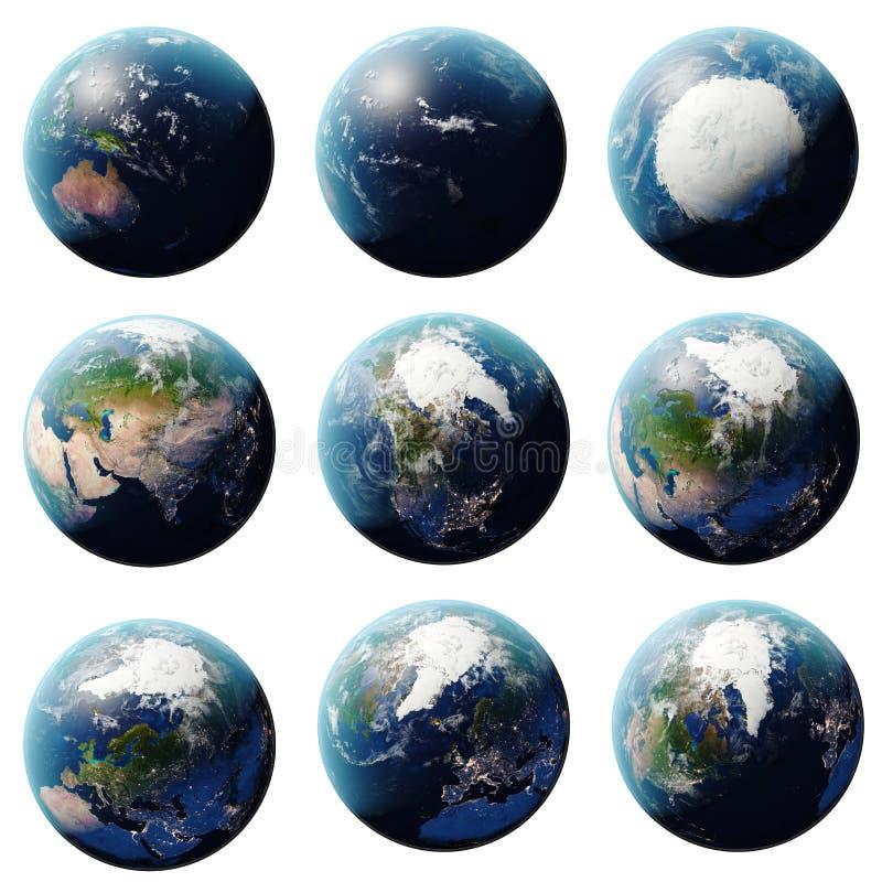 3D翻译行星地球集合,从不同的角度的地球,设置了在白色背景的地球您的设计的 向量例证