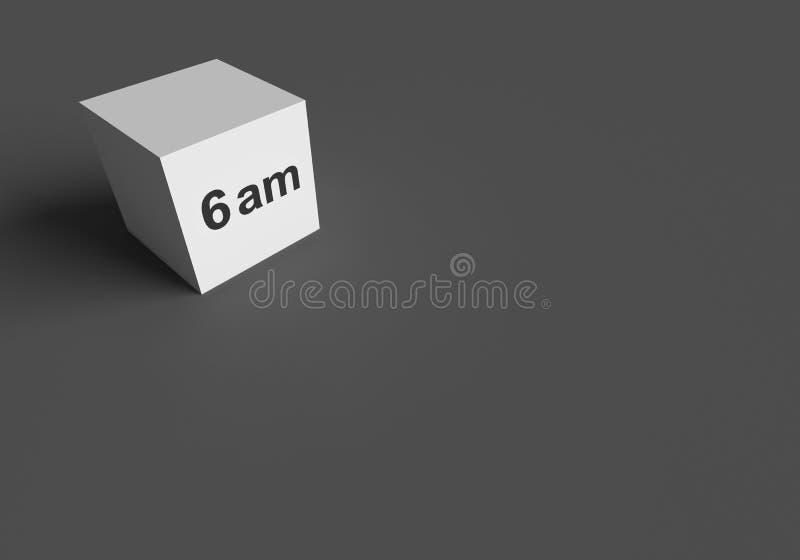 3D翻译词在白色立方体的上午6点 皇族释放例证