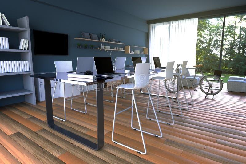 3D翻译:互联网个人计算机咖啡馆装饰内部的例证或计算机工作者内部个人计算机办公室 向量例证
