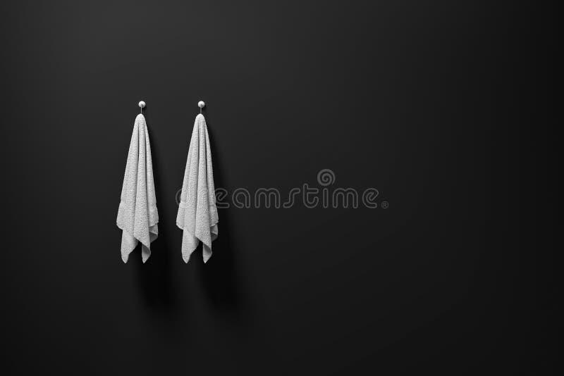 3D翻译:例证垂悬在一个暗淡黑墙壁、光和阴影,拷贝空间上的两件干净和白色毛巾 皇族释放例证