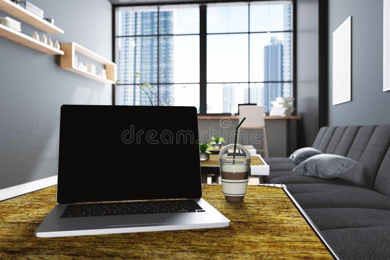 3D翻译:关闭的例证膝上型计算机的在咖啡咖啡馆装饰内部或计算机工作者内部个人计算机办公室 库存例证