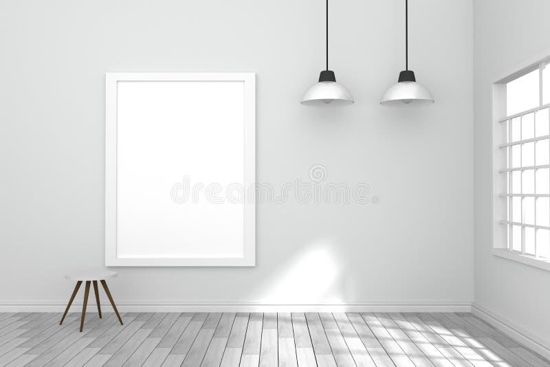 3D翻译:垂悬在wall3D翻译的白色海报的例证:垂悬在墙壁上的白色海报的例证 向量例证