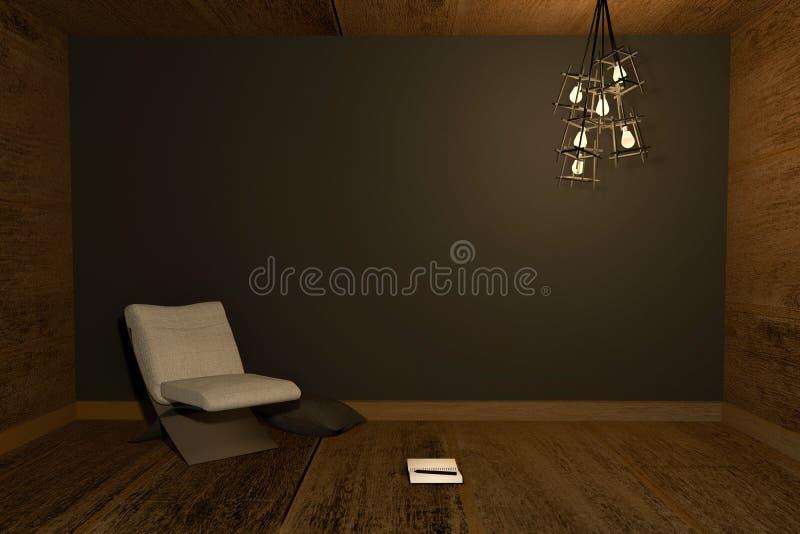 3D翻译:夜场面现代内部的例证与椅子和笔记本的投入了木地板对黑墙壁 向量例证