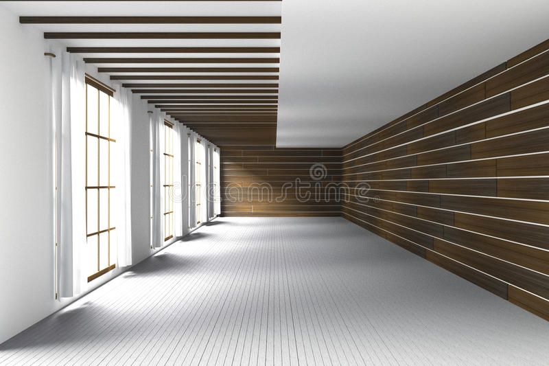 3D翻译:大宽敞的房间,从玻璃窗的自然光的例证 在木墙壁的空的室内部 向量例证