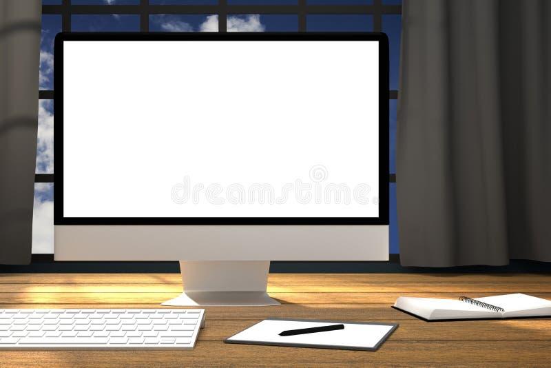 3D翻译:工作场所大模型的例证 在木桌上的个人计算机moniter 计算机办公室的加工面 皇族释放例证