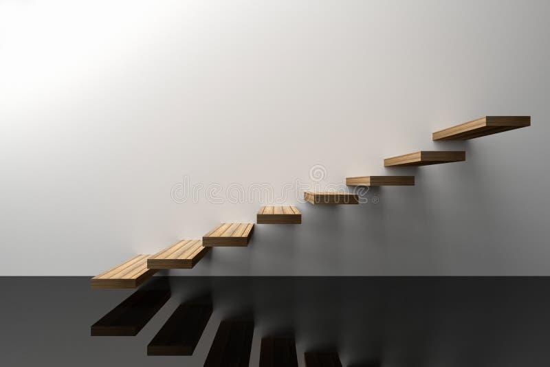 3D翻译:木台阶的例证或提高反对与发光的黑地板的白色墙壁背景,成功,攀登 皇族释放例证