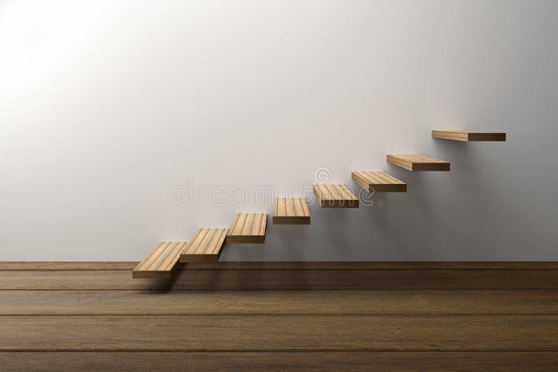 3D翻译:木台阶的例证或提高反对与木地板的白色墙壁背景,成功,攀登,事务 库存例证
