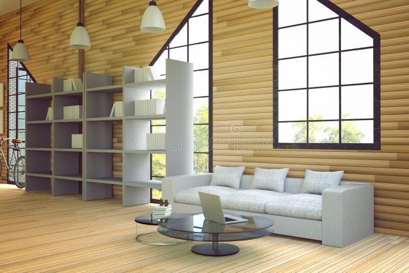 3D翻译:木房子内部的例证 房子的客厅零件 白色家具在木屋子样式里 现代的顶楼 皇族释放例证